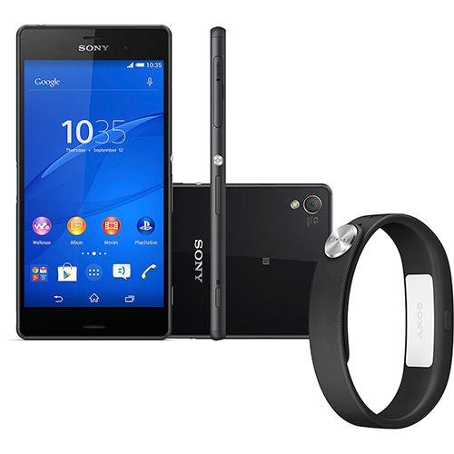 """Smartphone Sony Xperia Z3 Desbloqueado Android 4.4 Tela 5.2"""" 16GB 4G Wi-Fi Câmera 20.7MP - Preto + Pulseira SmartBand - Americanas.com"""