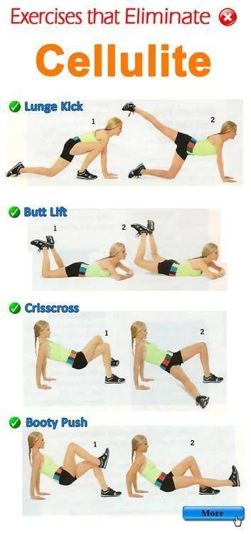 Exercises That Eliminate Cellulite ..... Lunge Kick, Butt Lift, Crisscross, Booty push .... kur Visit my site http://youtu.be/4yfEGZnJ96M