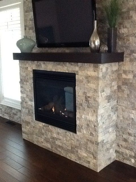 Fireplace Stone Splitface Travertine Silver | Living room ...