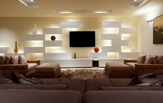 Iluminacao Para Sala De Estar E Tv ~ atrás dos módulos de madeira laqueada no móvel da sala de estar
