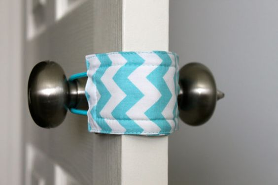 Genius device at Etsy to slip over your doorknobs to keep doors from slamming (and waking sleeping babies?)