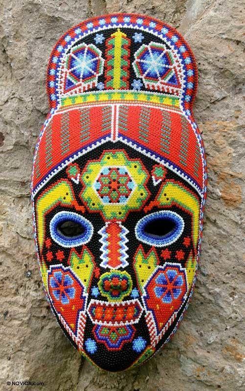 Higinio Hernandez Handmade Hand Beaded Huichol Papier Mache Mask Wall Decor Masks Art Mexican Mask Bead Art