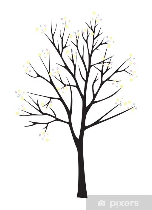 Simple Tree Clipart Black And White : simple, clipart, black, white, Black, Silhouette, White, Background, Mural, Pixers®, Change, Silhouette,, Drawing, Simple,