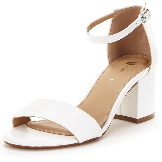 V By Very Houghton Block Heeled Sandals White Keep It
