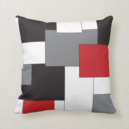 Original Colorblock Red Black Gray White Pattern Throw Pillow Zazzle Com Grey And Red Living Room Red Accent Pillow Grey Decorative Pillow