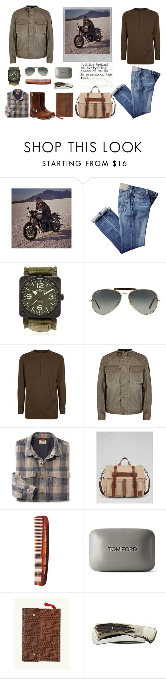 """""""On the Road"""" by maninaustin ❤ liked on Polyvore featuring Polaroid, Bell & Ross, Ray-Ban, Helmut Lang, Belstaff, L.L.Bean, Baxter of California, Tom Ford, men's fashion and menswear"""