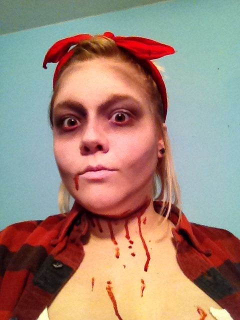 Walking dead makeup, slit throat makeup, sunken eyes #zombie #dead ...