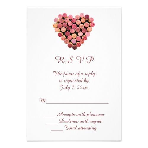 Winery Wedding Invitations Wine Corks Heart Wedding RSVP Card – Wedding Invitations with Rsvp Cards