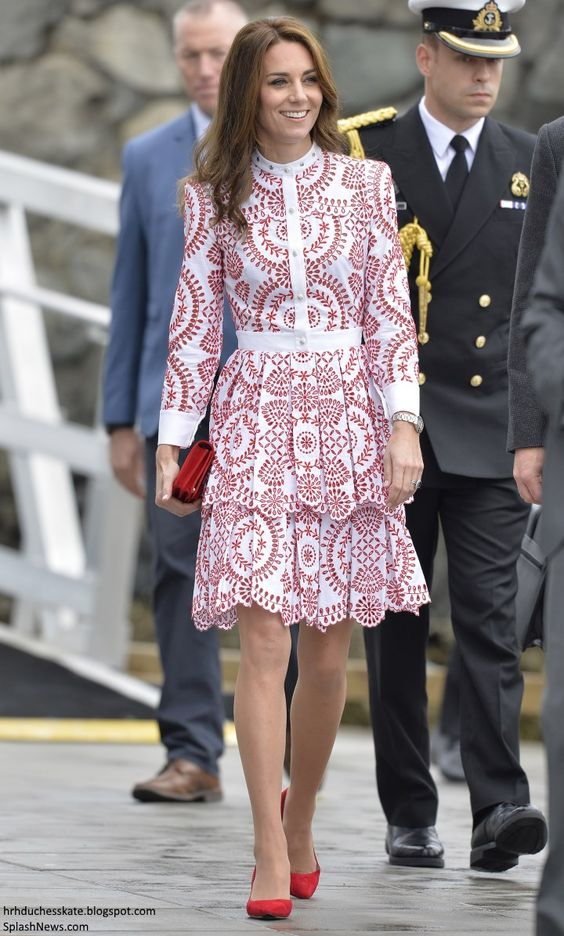 hrhduchesskate:  Canada Tour, Day 2, Leaving Victoria for Vancouver, British Columbia, September 25, 2016-Duchess of Cambridge debuted an Alexander McQueen white and red print dress