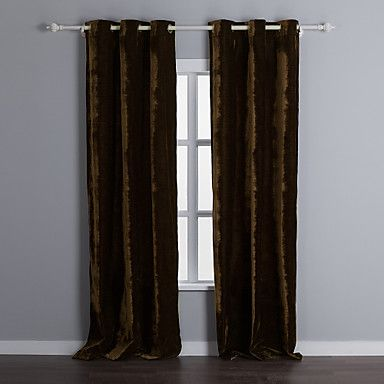 (Two Panels) Classic Solid Velvet Room Darkening Curtains – USD $ 134.99