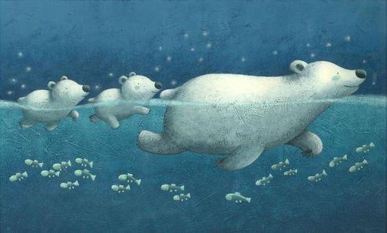 Polar bear family swimming in the ocean, so whimsical and cute <3 By Francesca Di Chiara: