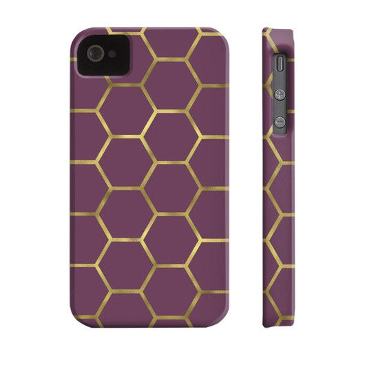 Purple and Gold Honeycomb Phone Case