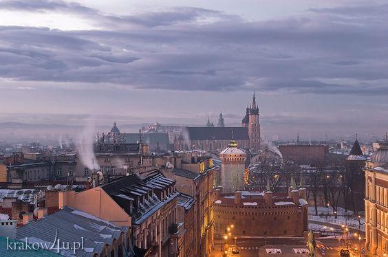 Zimowy widok o poranku na Stare Miasto