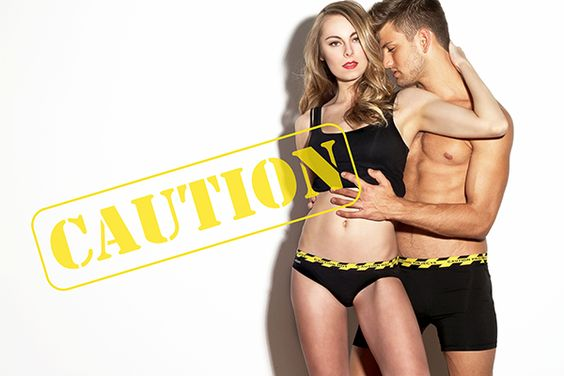 """Caution Hot"" hipster for her and ""Objects Protruding"" brief for him from Hipstripes Underwear on Lingerie Briefs"