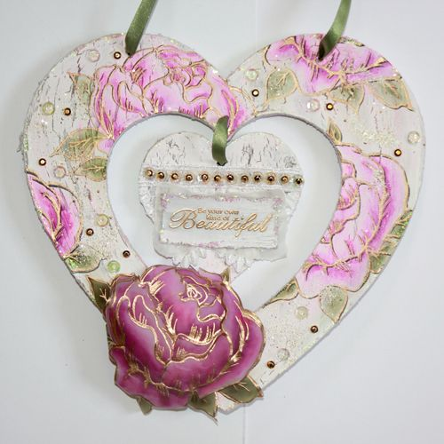 CS125D 'Peonies' Clear set contains 5 stamps. Stamp set designed by Sharon Bennett. Wooden Heart by Sally Dodger: