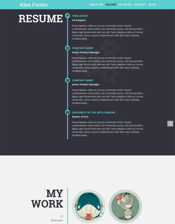 This resume WordPress theme features a flat design, a responsive - wordpress resume themes