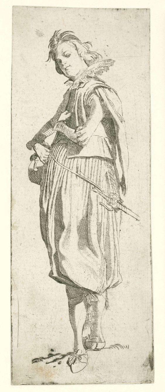 Willem Pietersz. Buytewech   Italiaanse edelman, Willem Pietersz. Buytewech, 1615   Italiaanse edelman in kostuum met kanten kraag, wambuis met siermouwen en wijde pofbroek tot aan de knieën, kousebanden met strikken. Proefdruk voor de eerste staat,  vóór de vermelding van de titel. No.  4 uit een serie van 7 kostuumprenten.