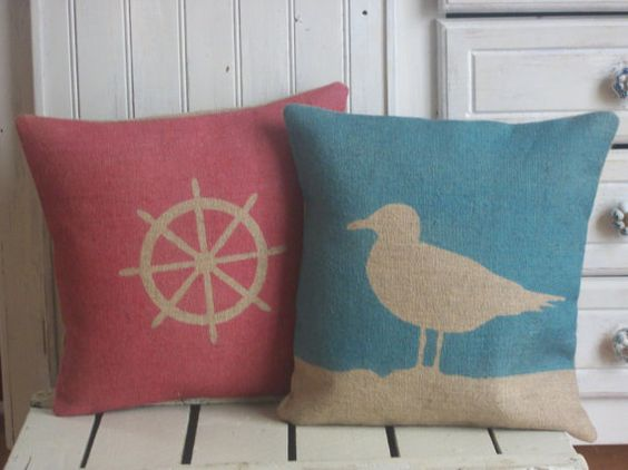 Seagull Hand Printed Rustic Hessian Cushion by RusticCountryCrafts, $30.00