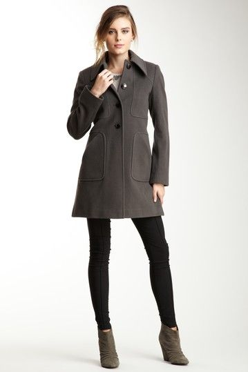 Tahari Megan Single Breasted Pea Coat by Non Specific on