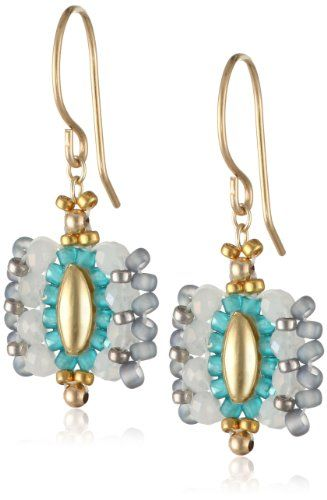 Miguel Ases Opalite and Miyuki Rice Bead Drop Earrings Miguel Ases: