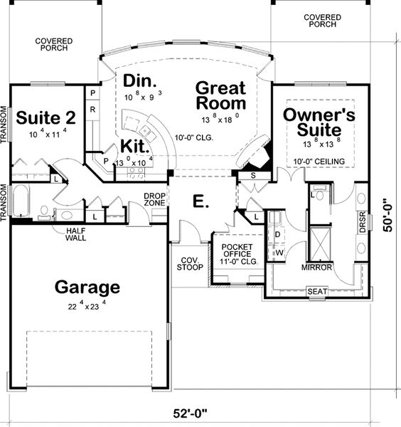 Contemporary Style House Plans - 1436 Square Foot Home , 1 Story, 2 Bedroom and 2 Bath, 2 Garage Stalls by Monster House Plans - Plan 10-1627