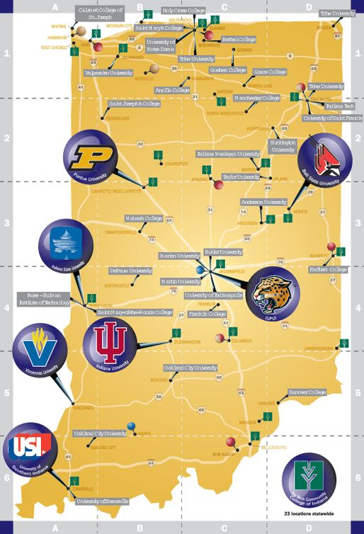 Colleges In Indiana Map Picture | Indiana, Indiana travel, Indiana map
