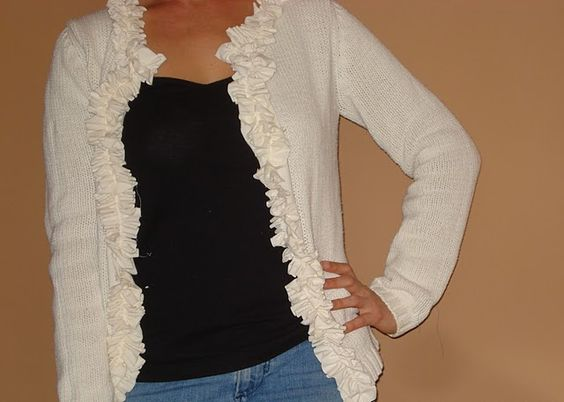 How to recon an old sweater to make a ruffled cardigan