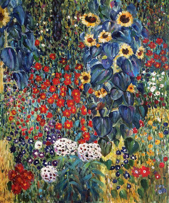 Farm Garden with Sunflowers - Gustav Klimt - Gustav Klimt - k amp uuml che landhaus modern
