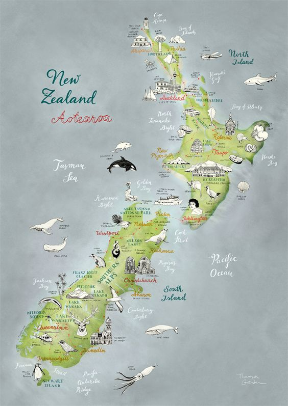 New Zealand Aotearoa illustrated Map by Theresa Grieben