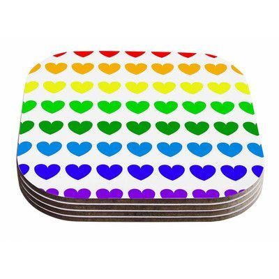 KESS InHouse Rainbow Hearts by NL Designs Coaster