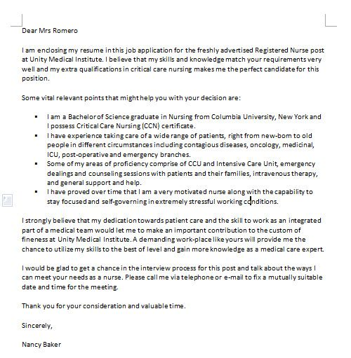 One of the many examples of nursing cover letters has been written - nursing cover letter format