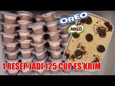 Es Krim Milo Oreo Lembut Padat Tips Trik Youtube Es Krim Ide Makanan Makanan Penutup Mini