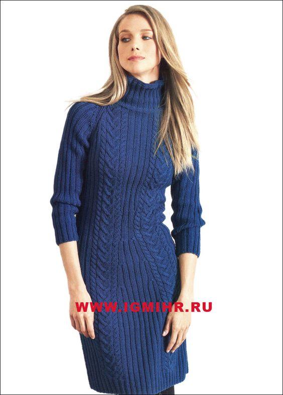 Платье вязаное спицами косы