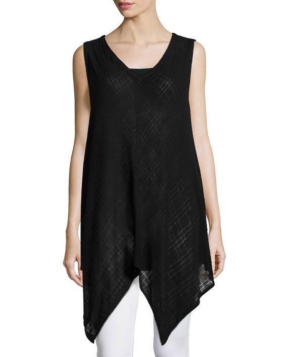 Love Scarlett Sleeveless V-Neck Asymmetric Tunic, Black, Women's, Size: Medium