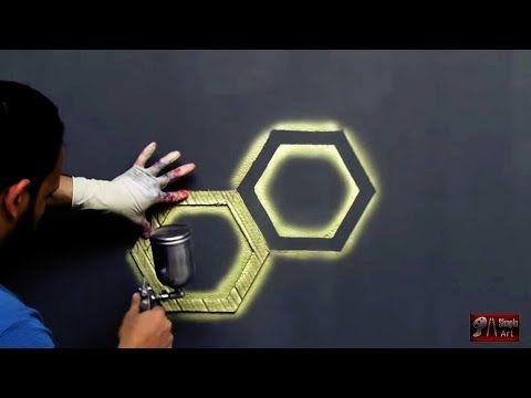 بقطعة كرتون اصنع بنفسك ديكور خلية النحل ثري دي 3d Hexagon Design Youtube Wall Art Diy Paint Wall Paint Designs 3d Wall Painting