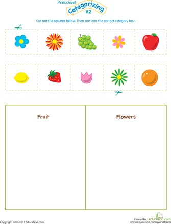 Cut and Categorize #2 | Worksheets, Babysitters and Parents