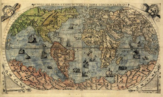 Vintage World Map P.Forlani 1565 by TerraIncognitaMaps on Etsy, $45.00