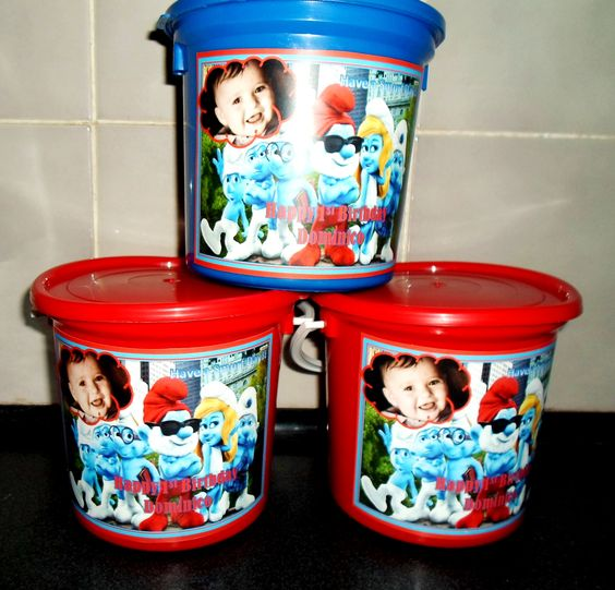 Personalized kids Party buckets - Smurfs Theme