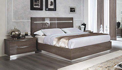 Esf Platinum Legno Silver Birch Queen Size Bedroom Set 2pcs With