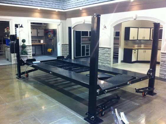 Car lift in showroom