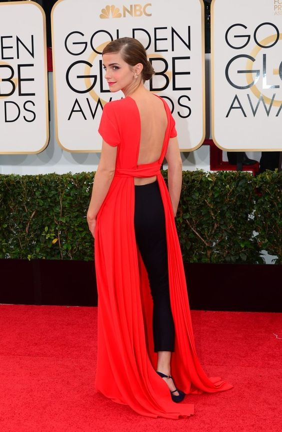 And when she conquered the red carpet with this unique red dress/jumper combo. | 25 Times Emma Watson Killed It In 2014