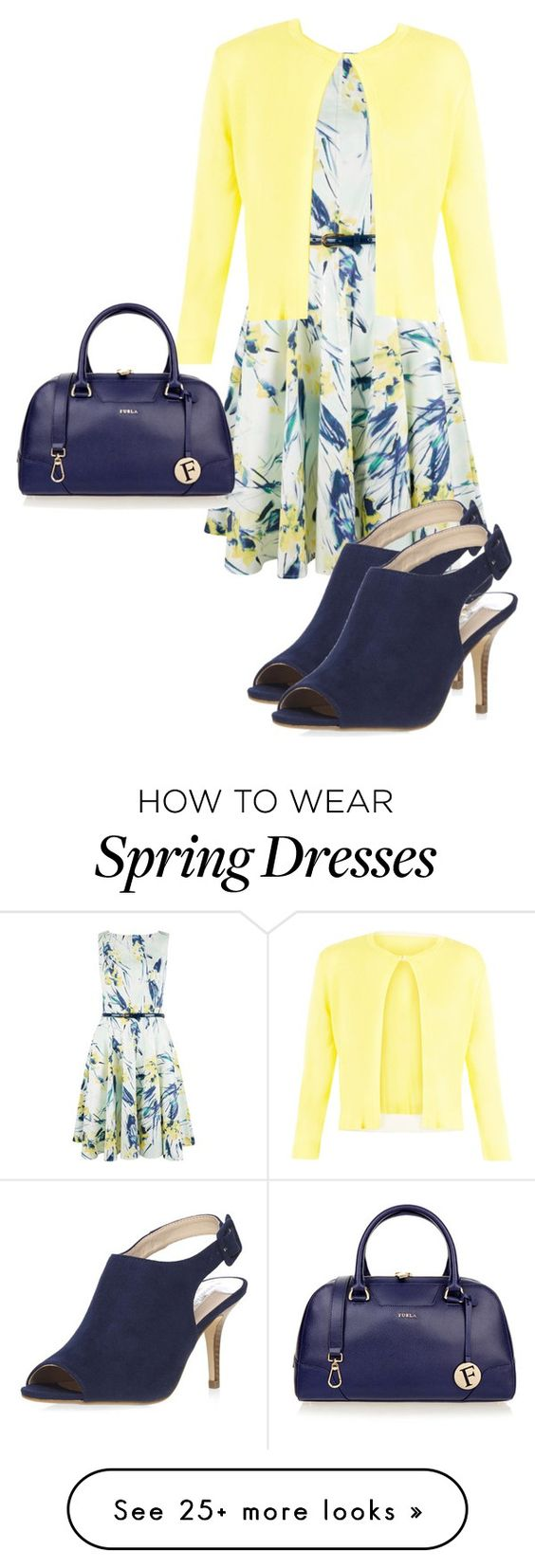 """Spring into Action"" by dolenka on Polyvore featuring Closet, Damsel in a Dress, Furla and Dorothy Perkins"