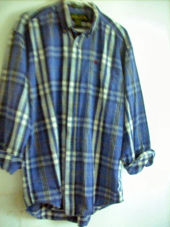 Plaid 100% thin Cotton Western style Shirt -Men's L Knights of the Round Table