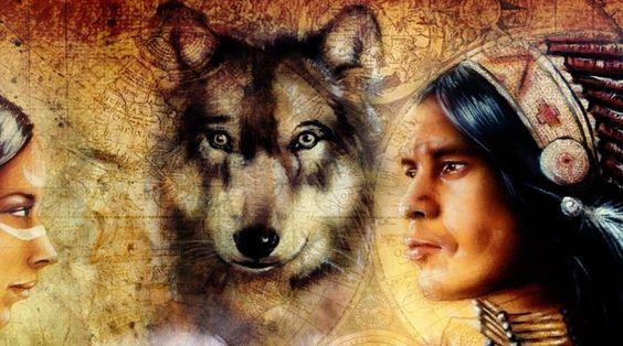 Wolf und Indianer