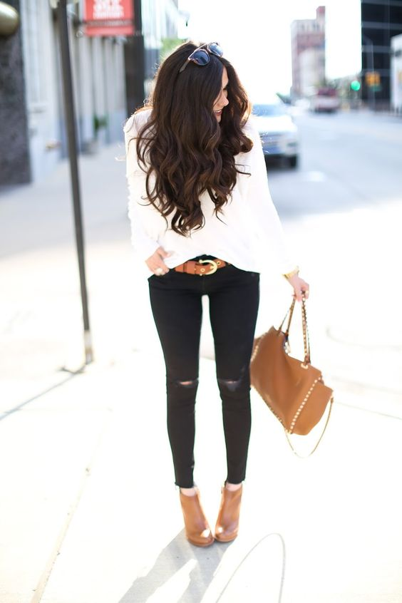 brunette wavy hair tutorial, white sweater with black ripped skinnies, brown booties for fall , cognac booties, nordstrom booties tan, dior So real sunglass lookalike, pinterest fall outfits, pinterest fall ootd 2015, easy and casual fall outfits, brunette medium wavy layered hair, valentino rockstud handbag tan, emily gemma blog, the sweetest thing blog