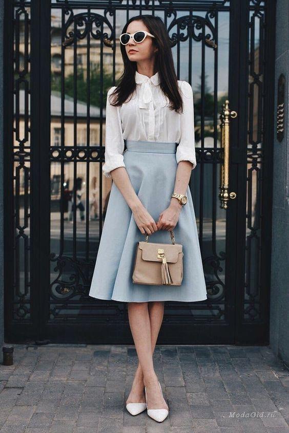 Modest White Blouse and Blue Skirt