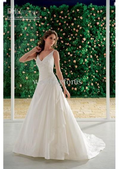Wholesale Wedding Dresses - Buy Custom-Made 2011 Gorgeous Wedding Dresses Column Sheer Straps Watteau Applique Chiffon Sleeveless, $73.86 | DHgate