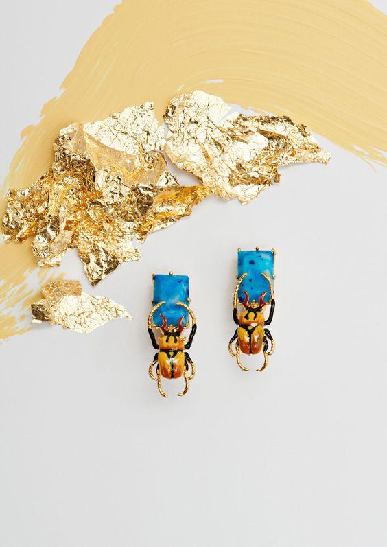 Bijoux Les Néréides collection automne hiver 2016 - boucles d'oreilles insectes Obscurité Ostentatoire