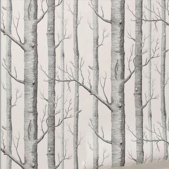 Murale motif bouleau bois papier peint rouleau design moderne papier peint simple , fond d'écran noir et blanc pour le salon dans Papiers peints de Maison & Jardin sur AliExpress.com | Alibaba Group