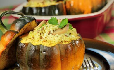 Squash With Wild Rice and Chanterelle Stuffing [VegNews]